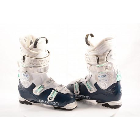 women's ski boots SALOMON QST ACCESS R70 W 2018, dark blue/white, SKI/WALK, MY CUSTOM FIT , RATCHET buckle, ( TOP condition )