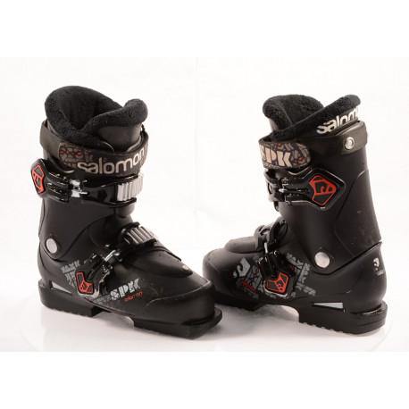 children's/junior ski boots SALOMON SPK 75, SCS, SLICK, ANTIVIBRATION system, BLACK/red, micro, macro