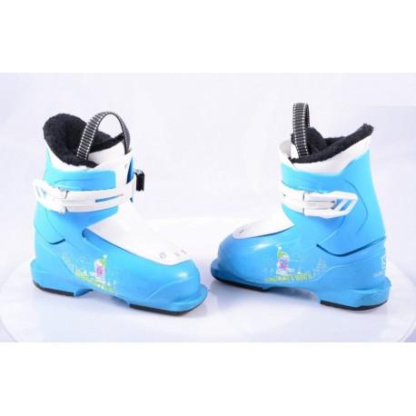 children's/junior ski boots SALOMON T1 YETI, RATCHET buckle, BLUE/white ( TOP condition )