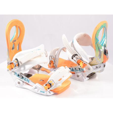 snowboard binding NITRO RAIDEN ERIS, WHITE/orange, size S