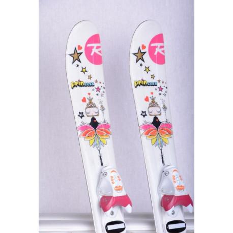 skis enfant/junior ROSSIGNOL PRINCESS STAR white/pink + Rossignol KIDX 2.5 white ( en PARFAIT état )