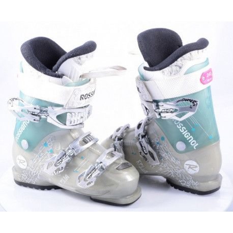 chaussures ski femme ROSSIGNOL KELIA 70, micro, macro, WOMEN specific design, GREY/turqoise ( en PARFAIT état )