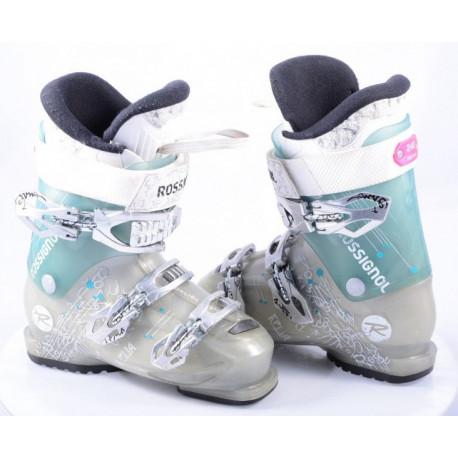 dames skischoenen ROSSIGNOL KELIA 70, micro, macro, WOMEN specific design, GREY/turqoise ( TOP staat )