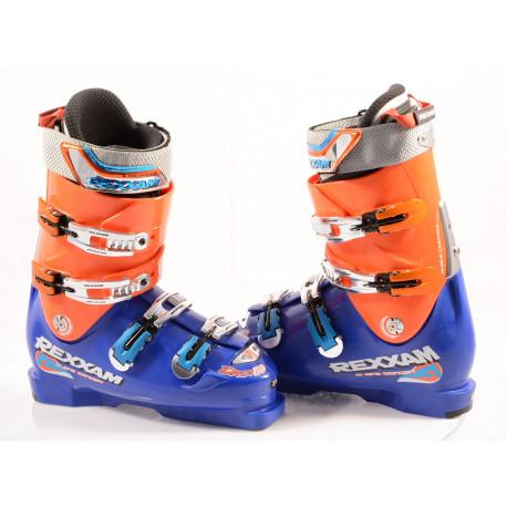 new ski boots REXXAM DATA D-110 automatic, BLUE/orange, MADE in JAPAN, BX tech, RACE strap, FLEX adj. ( NEW )