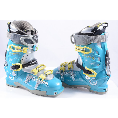 ski touring boots SCARPA GEA LAKE BLUE, SKI/WALK, micro system, axial alpine technology, canting ( TOP condition )