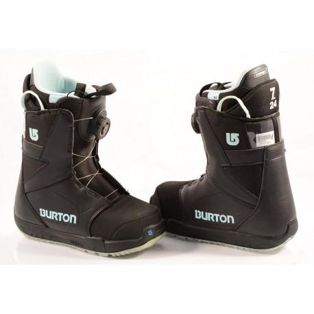 chaussures snowboard BURTON WOMENS PROGRESSION BOA MOTO, IMPRINT 1, BLACK/blue ( en PARFAIT état )