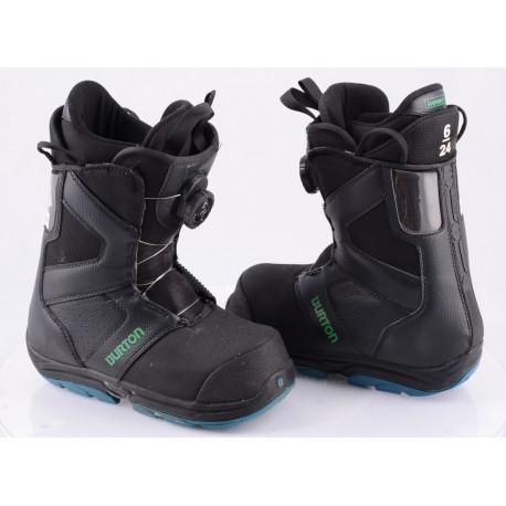 chaussures snowboard BURTON YOUTH PROGRESSION BOA MOTO, IMPRINT 1, BLACK/green ( en PARFAIT état )