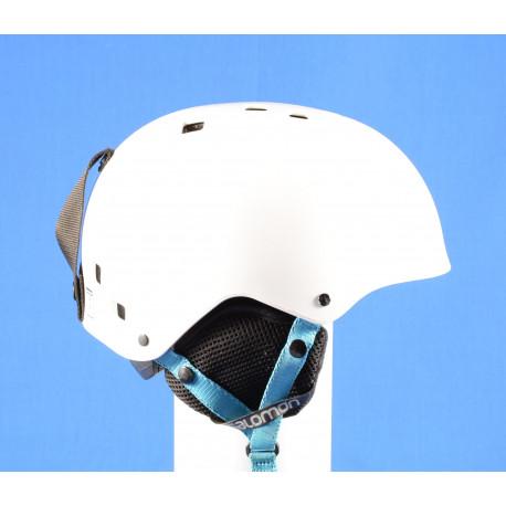 casco de esquí/snowboard SALOMON JIB, WHITE/blue, ajustable ( condición TOP )
