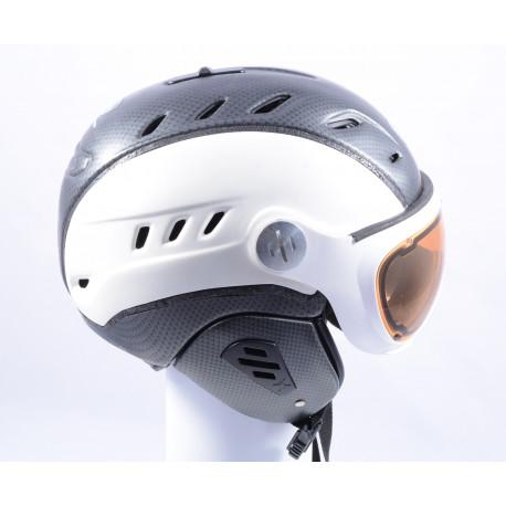 lyžařská/snowboardová helma SLOKKER BAKKA GRENZWERTIG 2019, WHITE/carbon, POLARIZING visor, PHOTOCHROMATIC visor