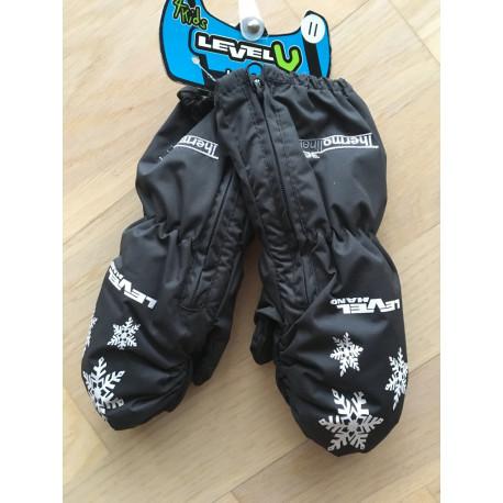 detské lyžiarske rukavice LEVEL kiddy mitt black, THERMOplus ( NOVÉ )