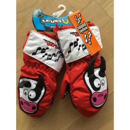 detské lyžiarske rukavice LEVEL animal SOUND cow, THERMOplus ( NOVÉ )