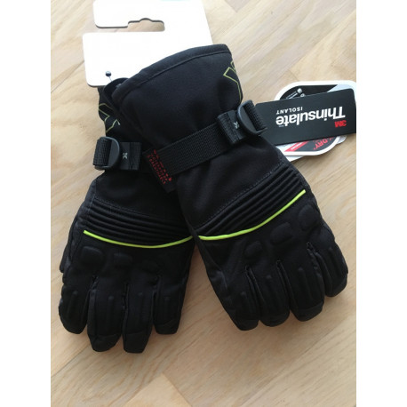 lyžiarske rukavice SKISET thermolite, quickdry, 3M thinsulate, comfort, BLACK/green ( NOVÉ )