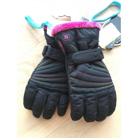 lyžiarske rukavice SKISET thermolite, quickdry, 3M thinsulate, comfort, BLACK/pink ( NOVÉ )