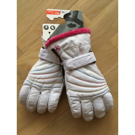 lyžiarske rukavice SKISET thermolite, quickdry, 3M thinsulate, comfort, WHITE/pink kozus ( NOVÉ )