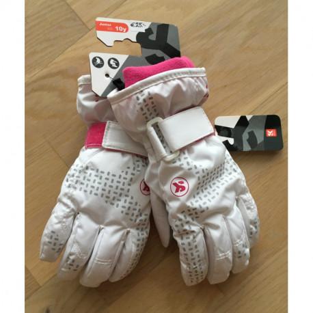 lyžiarske rukavice SKISET thermolite, quickdry, 3M thinsulate, comfort, WHITE/pink snur ( NOVÉ )